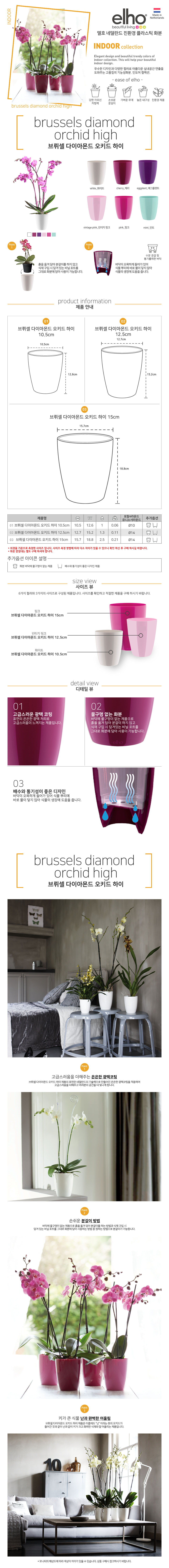 브뤼셀 다이아몬드 오키드 하이 높은화분(12.5cm) - 엘호, 6,100원, 공화분, 디자인화분